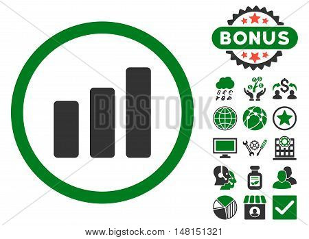 Bar Chart Increase icon with bonus pictogram. Vector illustration style is flat iconic bicolor symbols green and gray colors white background.