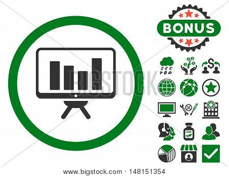 Bar Chart Monitoring icon with bonus design elements. Vector illustration style is flat iconic bicolor symbols green and gray colors white background.