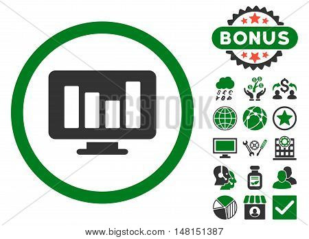 Bar Chart Monitoring icon with bonus pictogram. Vector illustration style is flat iconic bicolor symbols green and gray colors white background.