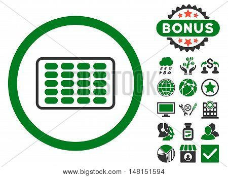 Blister icon with bonus design elements. Vector illustration style is flat iconic bicolor symbols green and gray colors white background.