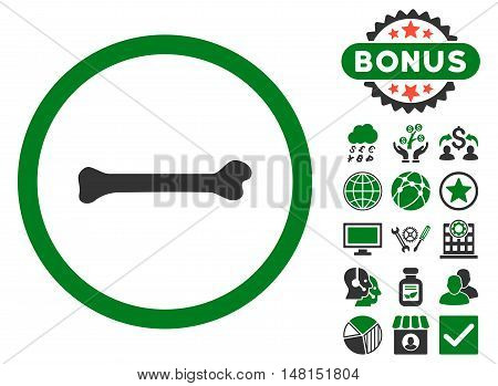 Bone icon with bonus symbols. Vector illustration style is flat iconic bicolor symbols green and gray colors white background.