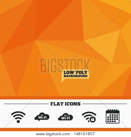Triangular low poly orange background. Free Wifi Wireless Network cloud speech bubble icons. Wi-fi zone locked symbols. Password protected Wi-fi sign. Calendar flat icon. Vector