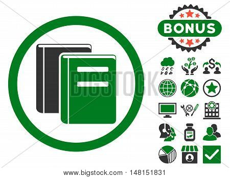 Books icon with bonus symbols. Vector illustration style is flat iconic bicolor symbols green and gray colors white background.