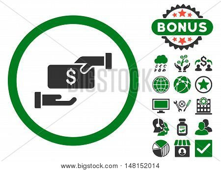 Bribe icon with bonus pictures. Vector illustration style is flat iconic bicolor symbols green and gray colors white background.