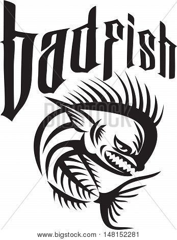 Illustration of a skeleton of an angry dorado dolphin fish mahi-mahi viewed from the side set on isolated white background with the words text badfish done in retro style.