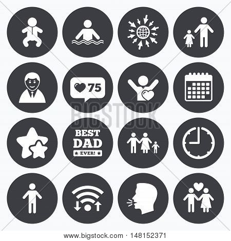 Calendar, wifi and clock symbols. Like counter, stars symbols. People, family icons. Swimming pool, love and children signs. Best dad, father and mother symbols. Talking head, go to web symbols. Vector