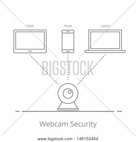 Concept of observation via a web camera on your mobile devices. Security video system. The transmission of information without wires. Vector illustration in a linear style isolated on white background