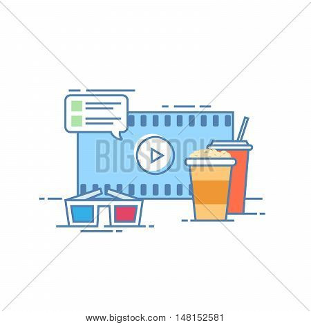 The concept of online cinema. Popcorn and a drink on the background screen. Comments to a film. Glasses for viewing in 3d. Vector illustration in a linear style isolated on white background
