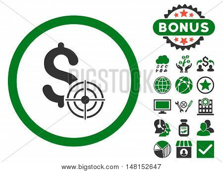 Business Target icon with bonus pictogram. Vector illustration style is flat iconic bicolor symbols green and gray colors white background.