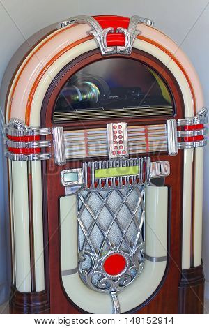 Retro Style Jukebox Automated Music Player in Corner
