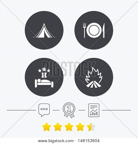 Food, sleep, camping tent and fire icons. Knife, fork and dish. Hotel or bed and breakfast. Road signs. Chat, award medal and report linear icons. Star vote ranking. Vector