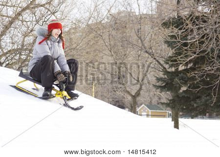Teens Sliding In Winter