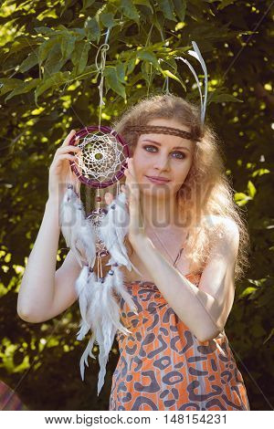 Portrait of Boho Young Girl Hanging Dreamctahcer Outdoor