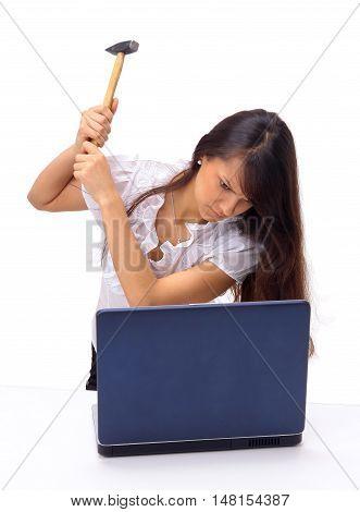 female Secretary hammer smashes a old laptop