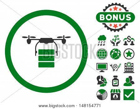 Cargo Drone icon with bonus pictures. Vector illustration style is flat iconic bicolor symbols green and gray colors white background.