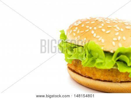 Big chicken hamburger  sandwich on white backgroung