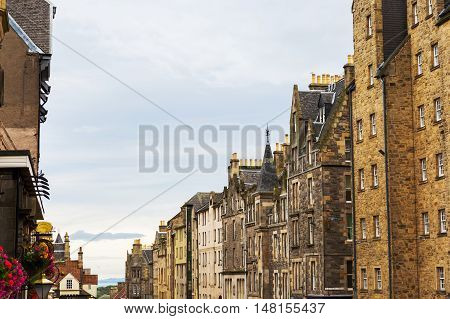Buildings Along The Royal Mile In Edinburgh, Scotland