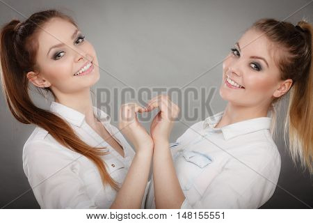 Family and relations. Love and affection concept. Two lovely attractive women playing together. Charming playful sisters have fun smiling. Girls making heart sign symbol.