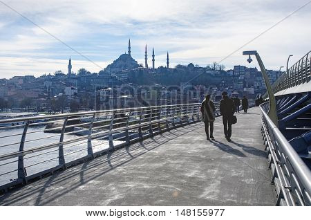 Istanbul Turkey - December 28 2014: The Süleymaniye Mosque is an Ottoman imperial mosque located on the Third Hill of Istanbul Turkey. It is the largest mosque in the city and one of the best known sights of Istanbul.