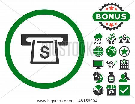Cashout Slot icon with bonus design elements. Vector illustration style is flat iconic bicolor symbols green and gray colors white background.