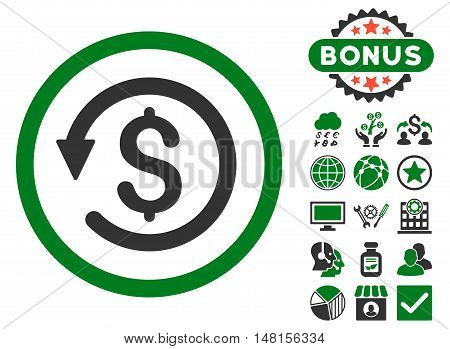 Chargeback icon with bonus pictures. Vector illustration style is flat iconic bicolor symbols green and gray colors white background.