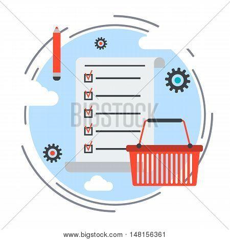 Task list flat design style vector concept illustration