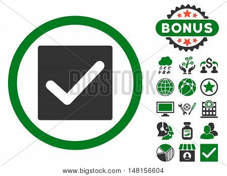 Check icon with bonus symbols. Vector illustration style is flat iconic bicolor symbols, green and gray colors, white background.