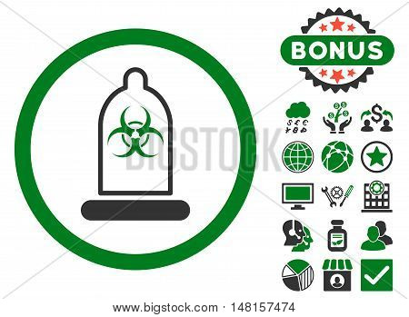 Condom Biohazard icon with bonus pictures. Vector illustration style is flat iconic bicolor symbols, green and gray colors, white background.