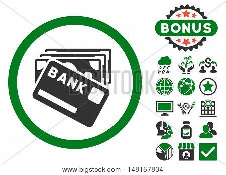 Credit Money icon with bonus images. Vector illustration style is flat iconic bicolor symbols, green and gray colors, white background.