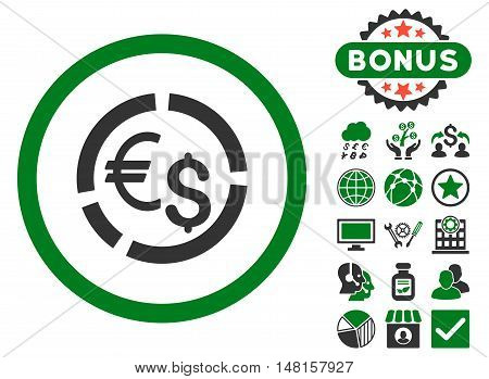 Currency Diagram icon with bonus symbols. Vector illustration style is flat iconic bicolor symbols, green and gray colors, white background.