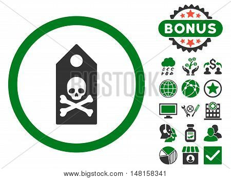 Death Mark icon with bonus pictures. Vector illustration style is flat iconic bicolor symbols, green and gray colors, white background.
