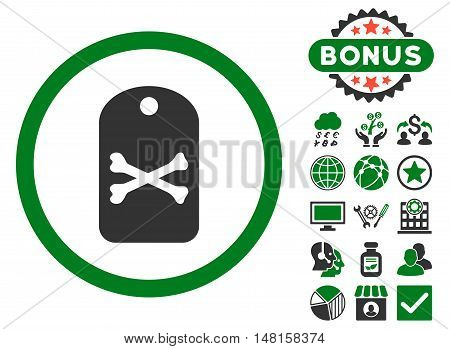 Death Tag icon with bonus pictogram. Vector illustration style is flat iconic bicolor symbols, green and gray colors, white background.