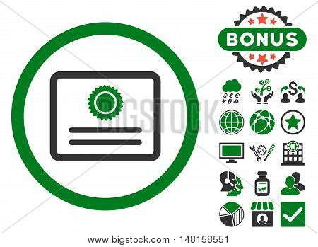 Diploma icon with bonus elements. Vector illustration style is flat iconic bicolor symbols, green and gray colors, white background.