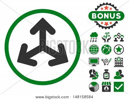 Direction Variants icon with bonus design elements. Vector illustration style is flat iconic bicolor symbols, green and gray colors, white background.