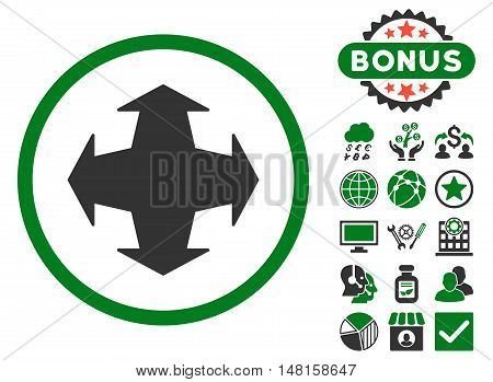 Directions icon with bonus pictures. Vector illustration style is flat iconic bicolor symbols, green and gray colors, white background.