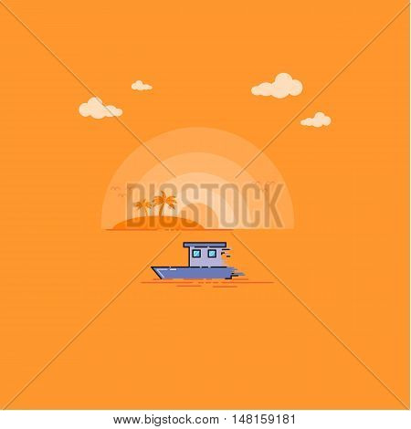 Tropical Sea Landscape outline vector art illustration