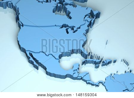 North Central America 3D shape illustration continent