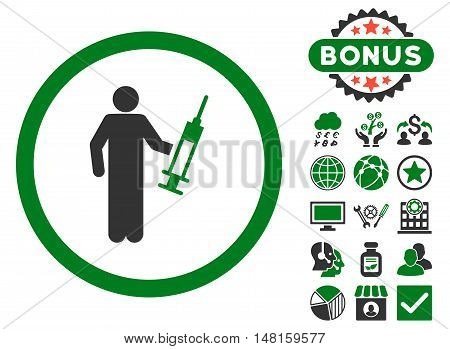Drug Dealer icon with bonus symbols. Vector illustration style is flat iconic bicolor symbols, green and gray colors, white background.
