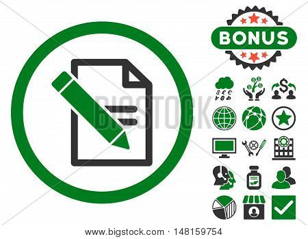 Edit Records icon with bonus elements. Vector illustration style is flat iconic bicolor symbols, green and gray colors, white background.
