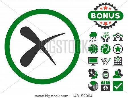 Erase icon with bonus pictogram. Vector illustration style is flat iconic bicolor symbols, green and gray colors, white background.