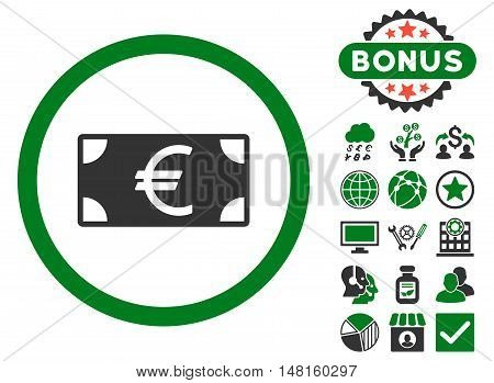 Euro Banknote icon with bonus images. Vector illustration style is flat iconic bicolor symbols, green and gray colors, white background.