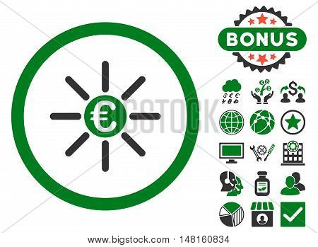 Euro Distribution icon with bonus images. Vector illustration style is flat iconic bicolor symbols, green and gray colors, white background.