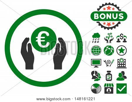 Euro Insurance Hands icon with bonus elements. Vector illustration style is flat iconic bicolor symbols, green and gray colors, white background.