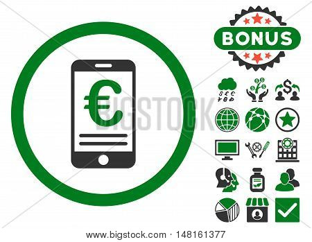 Euro Mobile Bank Account icon with bonus images. Vector illustration style is flat iconic bicolor symbols, green and gray colors, white background.