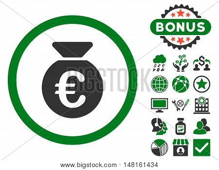 Euro Money Bag icon with bonus elements. Vector illustration style is flat iconic bicolor symbols, green and gray colors, white background.