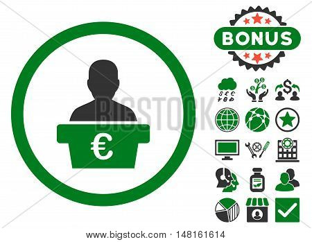 Euro Politician icon with bonus design elements. Vector illustration style is flat iconic bicolor symbols, green and gray colors, white background.