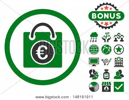Euro Shopping Bag icon with bonus pictures. Vector illustration style is flat iconic bicolor symbols, green and gray colors, white background.