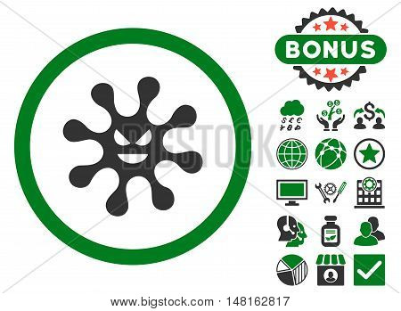 Evil Bacteria icon with bonus design elements. Vector illustration style is flat iconic bicolor symbols, green and gray colors, white background.