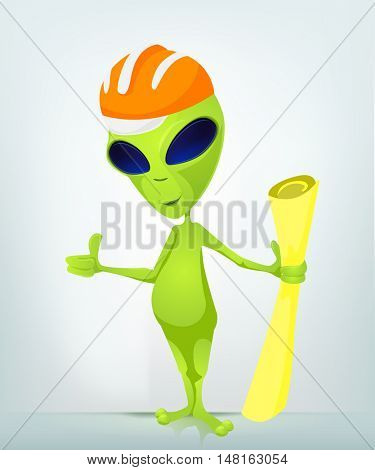 Cartoon Character Funny Alien Isolated on Grey Gradient Background. Architect.