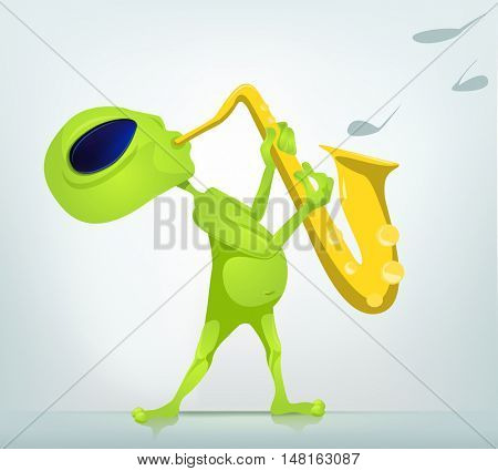 Cartoon Character Funny Alien Isolated on Grey Gradient Background. Saxophonist.